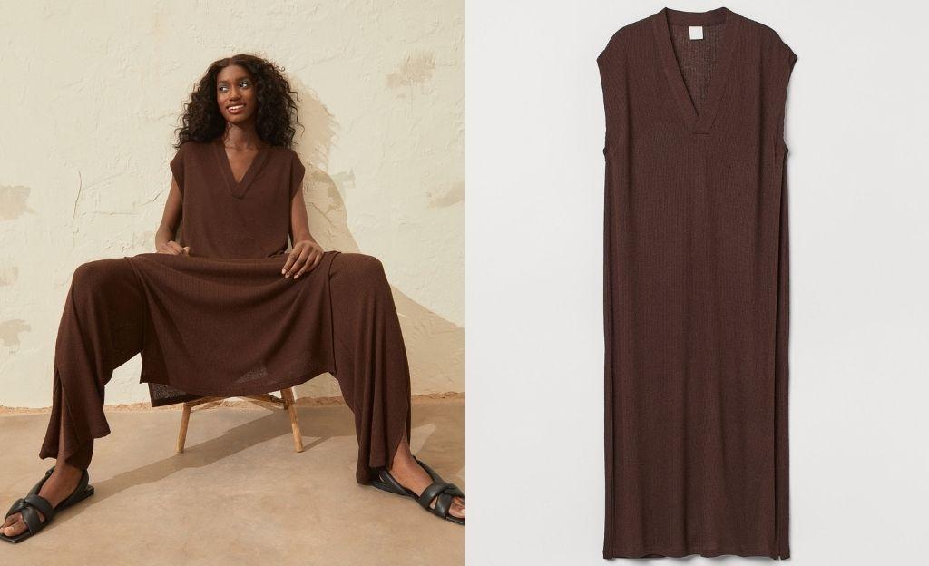 Vestido largo de punto marrón chocolate