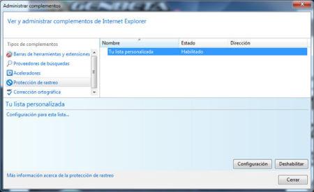 Administrador de complementos de Internet Explorer 10