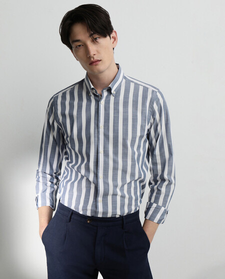 Camisa Sport De La Coleccion Black De Hombre Regular De Rayas Azul
