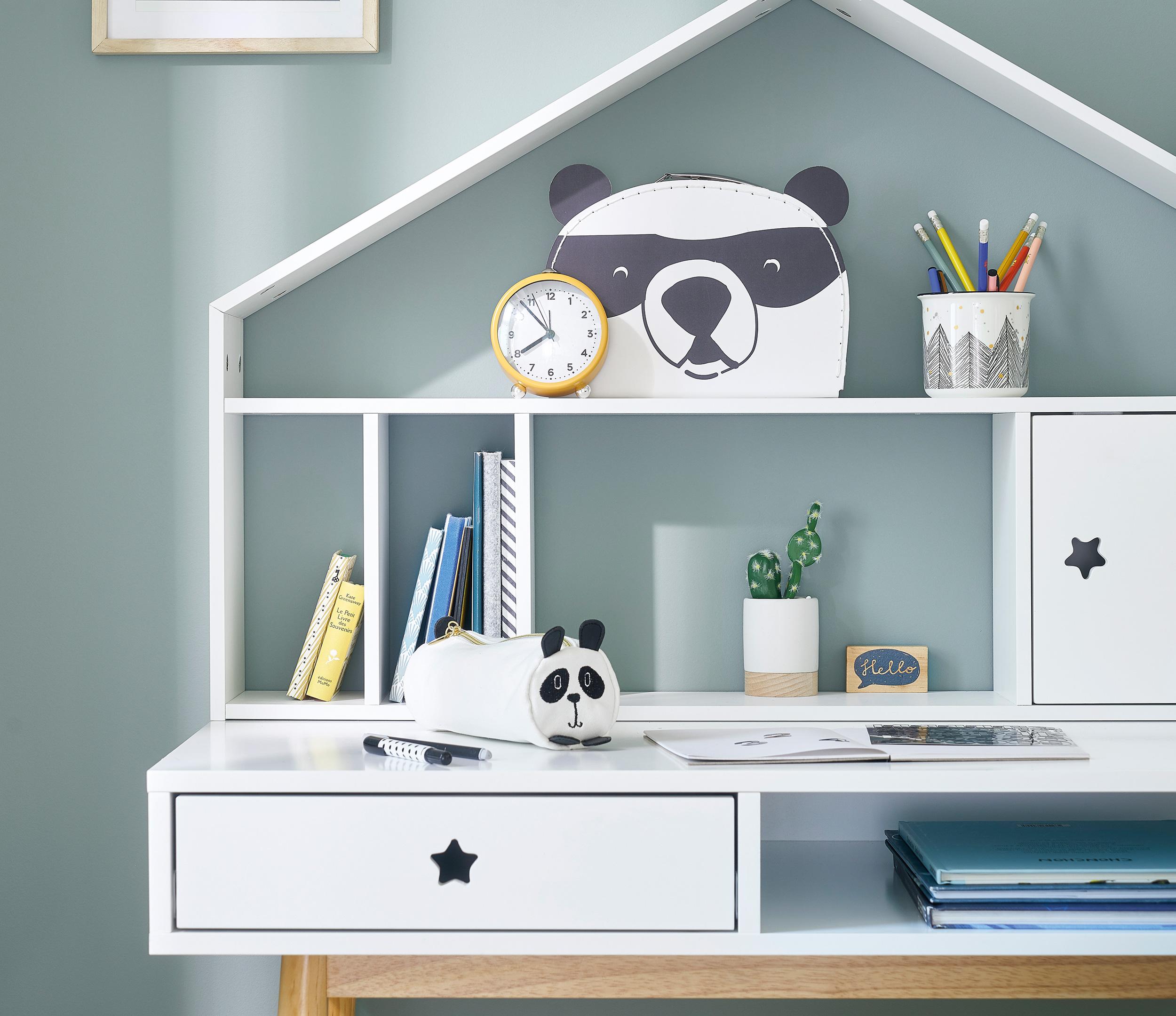 Módulo organizativo blanco con puerta para escritorio