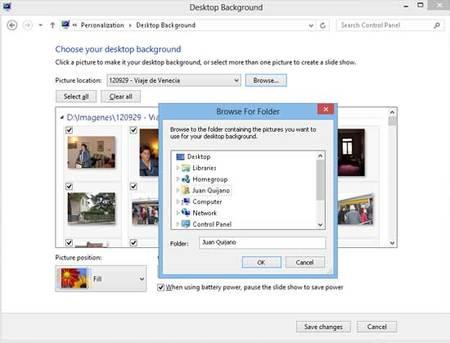 Eligiendo imágenes para el fonod de escritorio en Windows 8