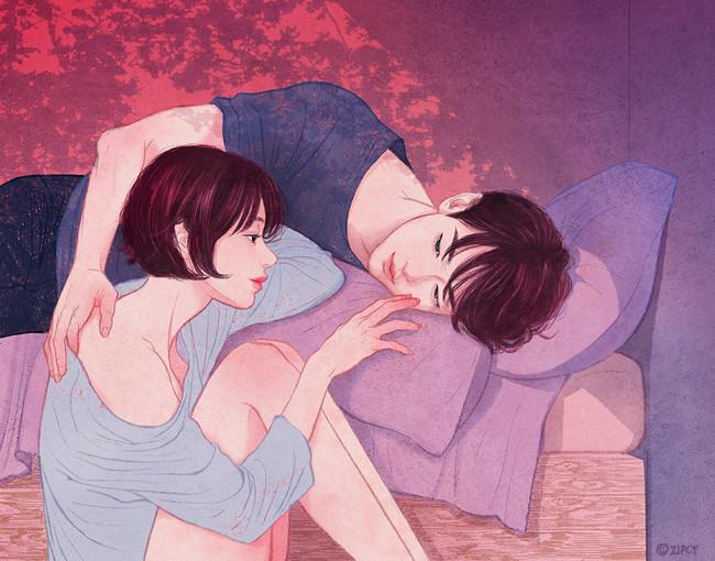 Estos dibujos plasman de forma perfecta la magia de la intimidad en pareja que casi se puede sentir