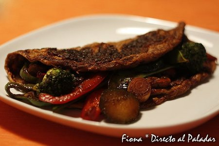 Receta de tortilla de verduras al wok