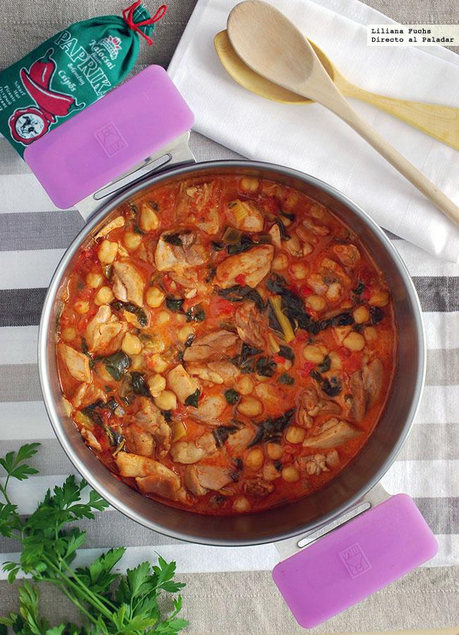Guiso de pollo con garbanzos al piment n receta - Preparacion de garbanzos cocidos ...