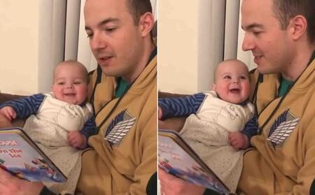 El tierno vídeo de una bebé sonriendo al escuchar a su padre leerle un cuento con diferentes voces