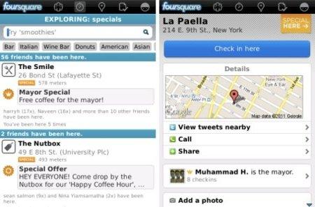 Foursquare v3.2.1 para BlackBerry con mejoras en rendimiento y precisión