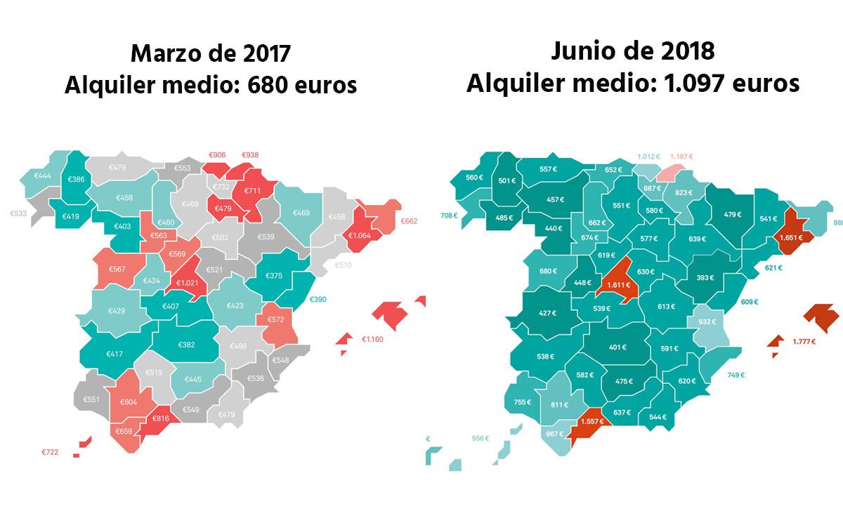 Cómo ha subido el precio medio del alquiler en España. / FUENTE: Xataka.