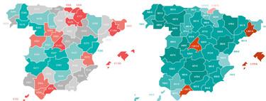 Dos mapas para entender la indignación de los españoles con el precio del alquiler