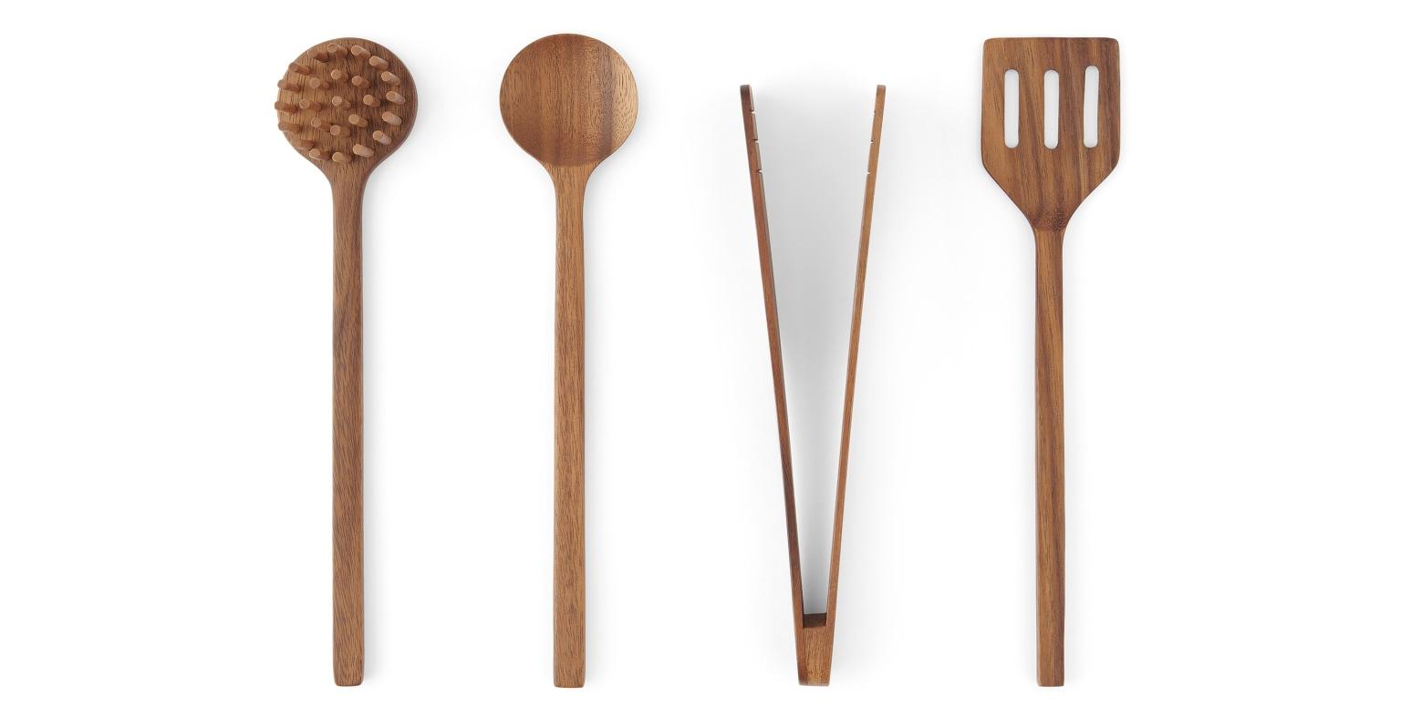 Juego de 4 utensilios de cocina de madera de acacia Clover, natural