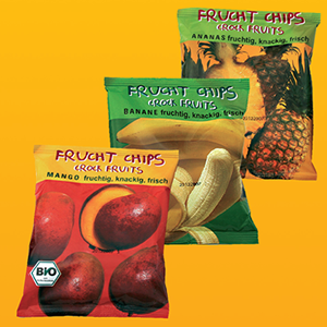 Frucht Chips o snacks de fruta deshidratada