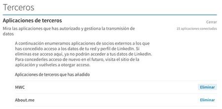 Aplicaciones Autorizadas Linkedin
