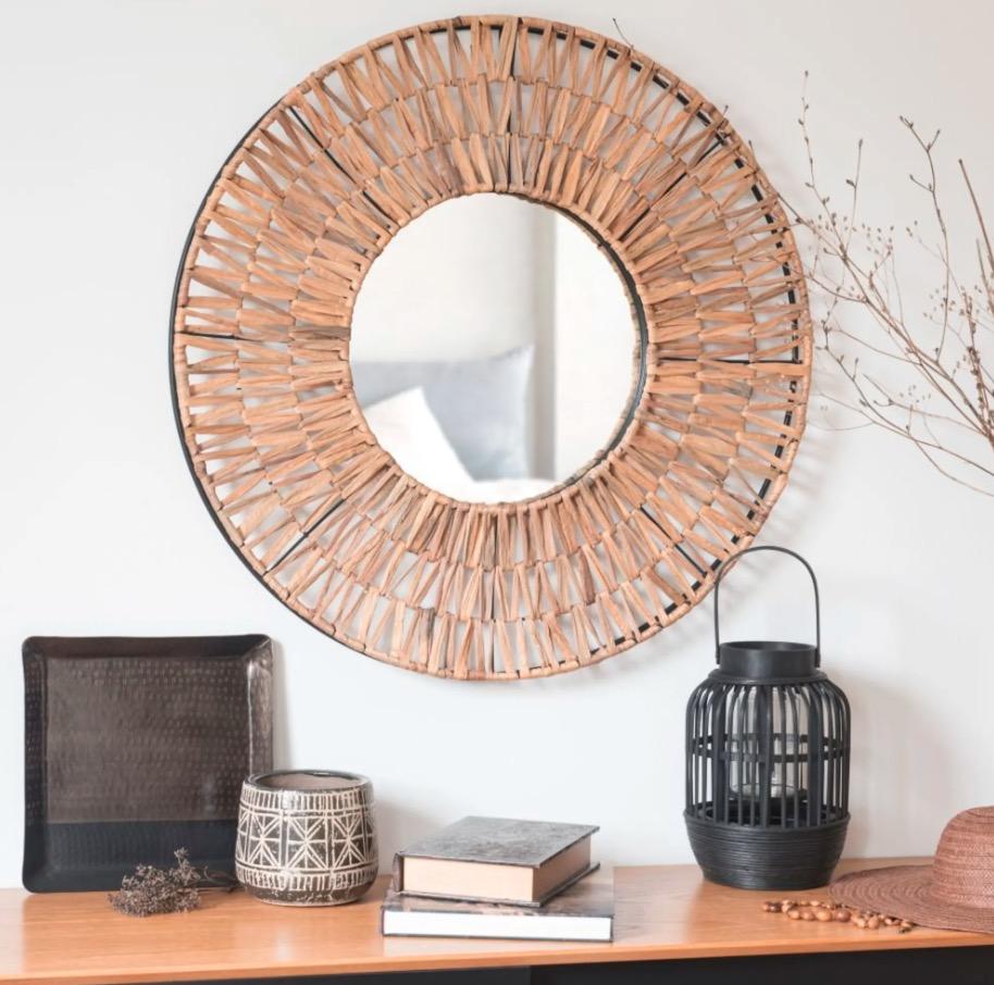 Espejo redondo de fibra vegetal Cotonou D.80