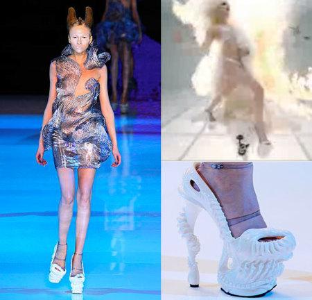 Lady Gaga en los zapatos de Alexander McQueen