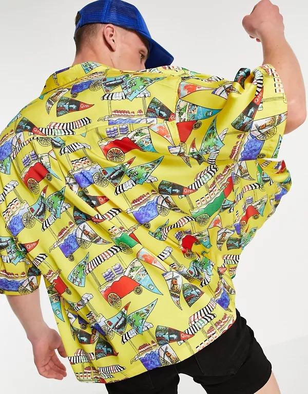 Camisa amarilla extragrande de corte cuadrado con estampado náutico de ASOS DESIGN
