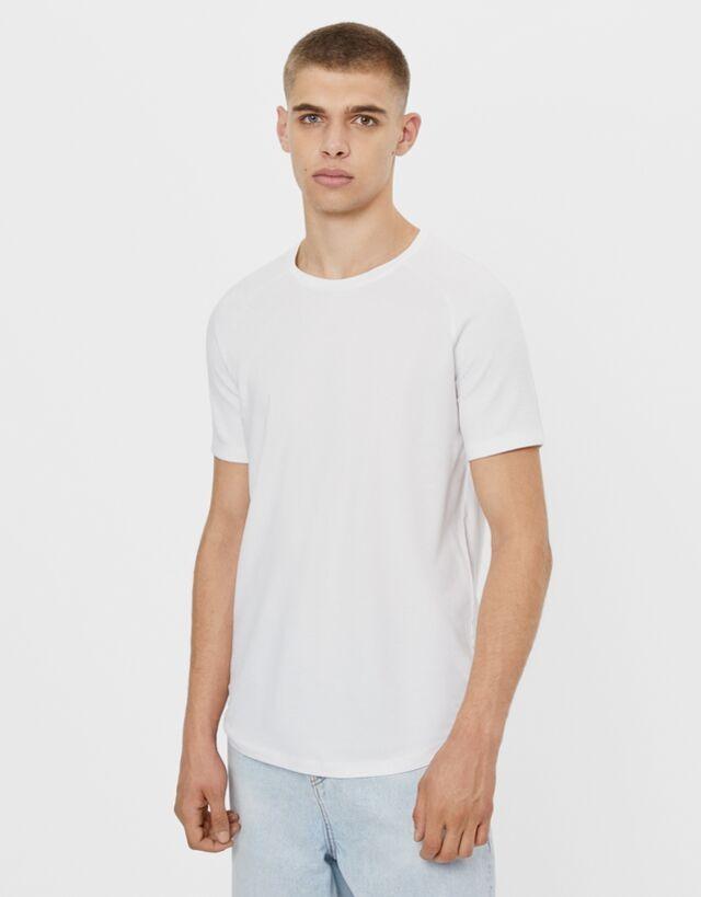 Camiseta otomán blanca con cuello redondo