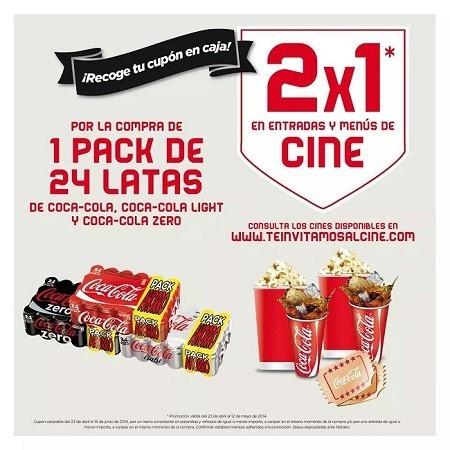 Un 2x1 en entradas de cine y menú con la compra de latas Coca-Cola en Carrefour