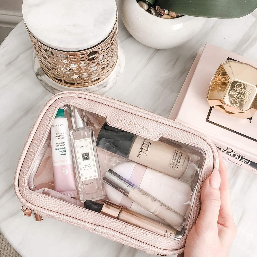 Organizador Maquillaje para Playa – Neceser Transparente para Aeropuerto – Bolsa Maquillaje y Cosméticos – Rosa, Lily England