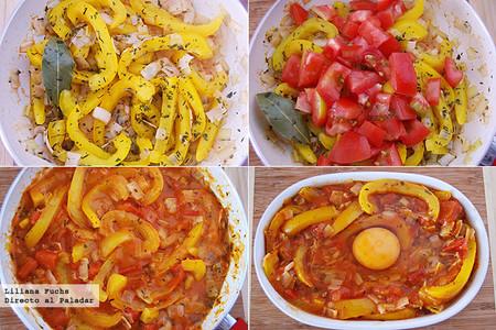 Gratinado de pimientos y tomate con huevo. Pasos