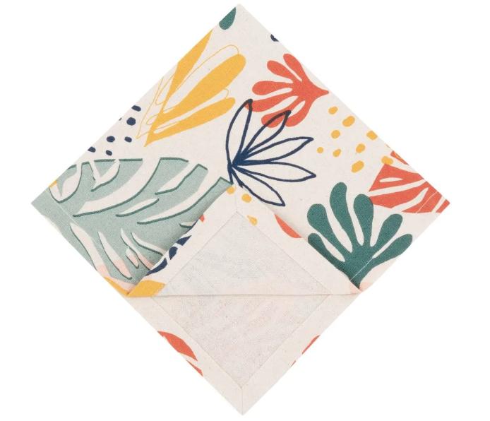 Servilletas de algodón ecológico con estampado multicolor (x4)