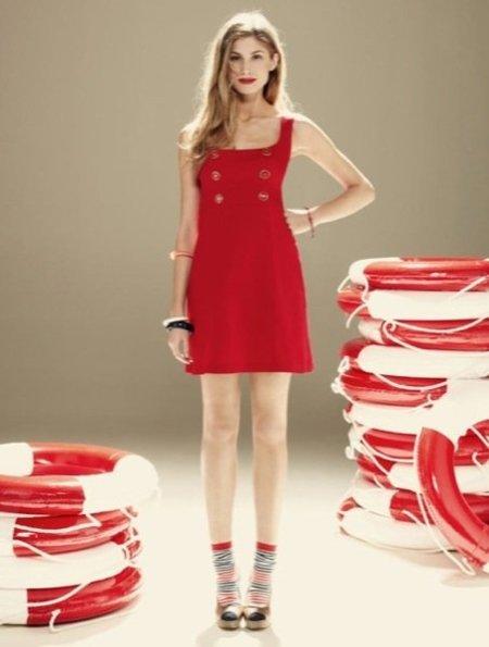 Blanco rojo vestido