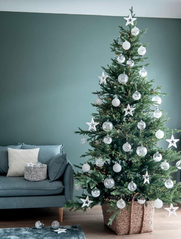 Bola de Navidad de cristal con copos blancos irisados  lote de 12 unidades -
