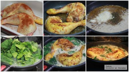 Muslos De Pollo Cremoso Con Espinacas