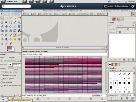 Paleta de color en Asturix 4.0 funcionando en GIMP