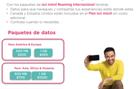 Izzi Movil Paquetes Datos Roaming Internacional
