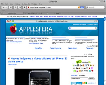 Así es Safari 3 beta para Windows