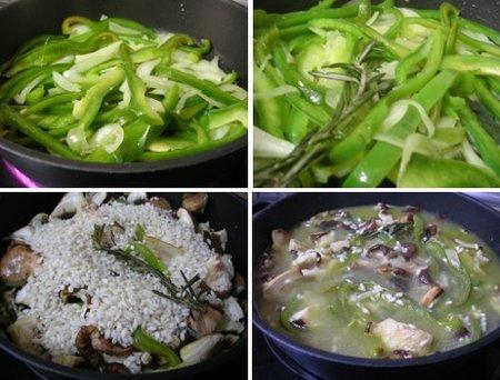 Elaboración del arroz con shiitakes