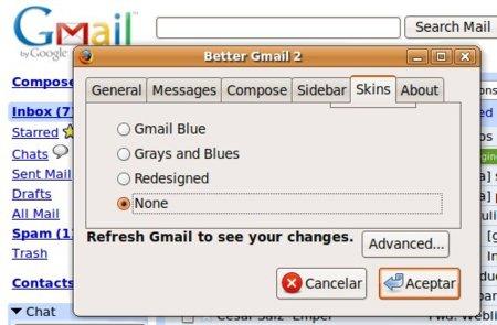 Better GMail 2, extensión para Firefox