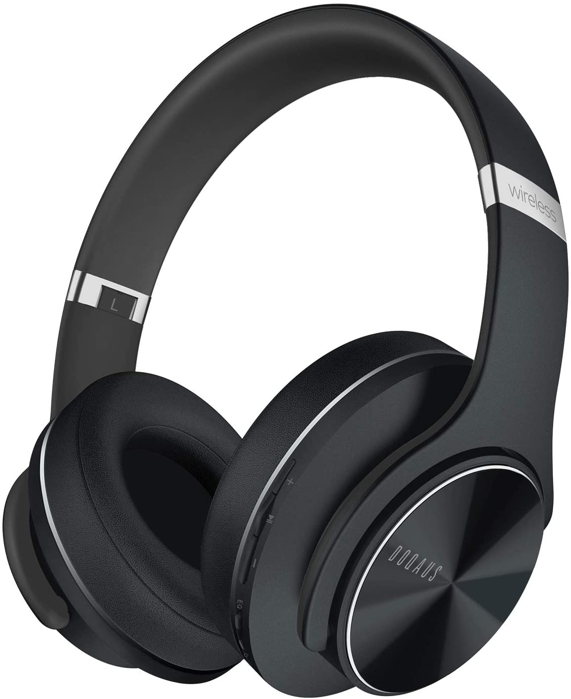 DOQAUS Auriculares Inalámbrico Diadema, [52 Hrs de Reproducir] Hi-Fi Sonido, Cascos Bluetooth con 3 Modo EQ, Micrófono Incorporado y Doble Controlador de 40 mm, para Móviles/Xiaomi/TV (Negro) [Clase de eficiencia energética A+++]