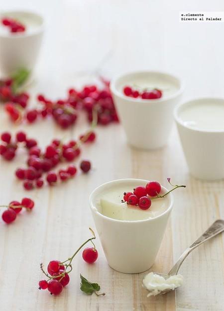 Pannacotta de yogur y grosellas. Receta
