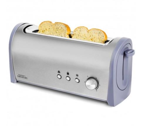 Steel&Toast 1L. Tostadora de pan con capacidad para dos tostadas. Incluye soporte para panecillos. 1000 W de potencia y 6 posiciones de tostado, función descongelar y función recalentar. Amplia bandeja recogemigas y hueco recogecables.