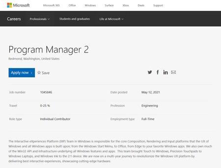Una de las ofertas de trabajo publicadas por Microsoft