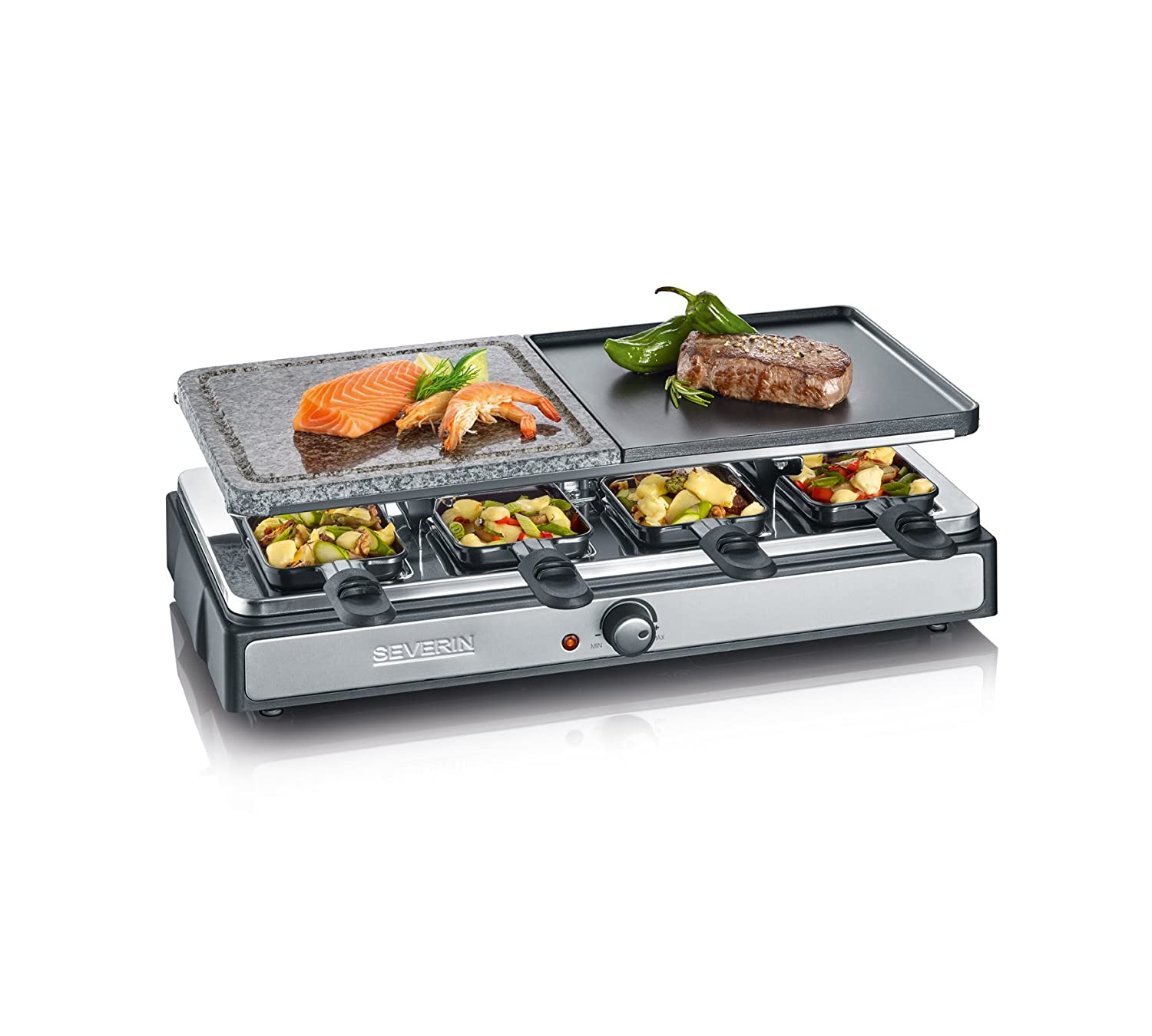 Raclette Grill Severin RG 2346 con piedra grill natural