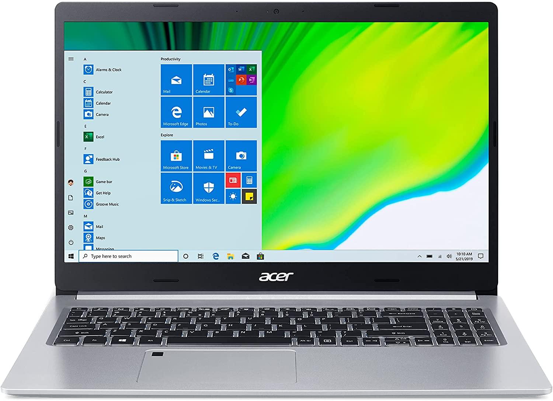 Acer Aspire 5 A515-46-R14K, pantalla de15.6 pulgadas Full HD IPS, AMD Ryzen 3 3350U, 4GB RAM DDR4, SSD NVMe M.2 de 128GB, WiFi 6, lector de huellas, compatible con Alexa y Windows 10 Home (S Mode)