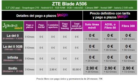 Precios Zte Blade A506 Con Pago A Plazos Y Tarifas Yoigo