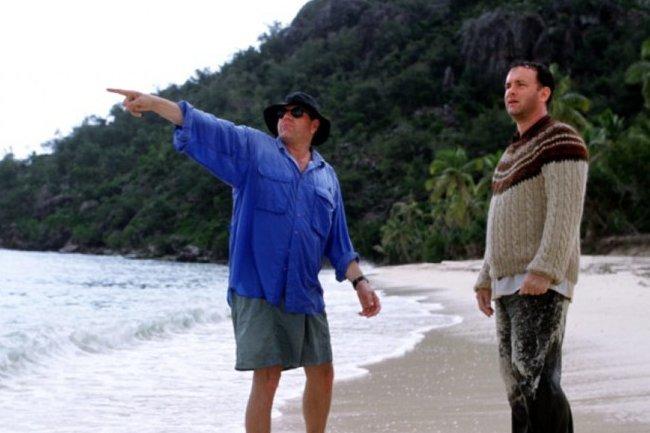 Robert Zemeckis y Tom Hanks en el rodaje de Náufrago