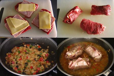 Rollitos de ternera rellenos de queso gouda sin lactosa. Pasos