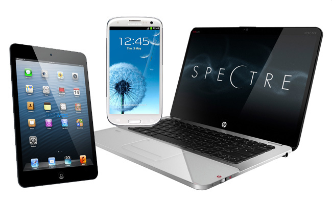 iPad Mini, HP Spectre y Samsung Galaxy SIII
