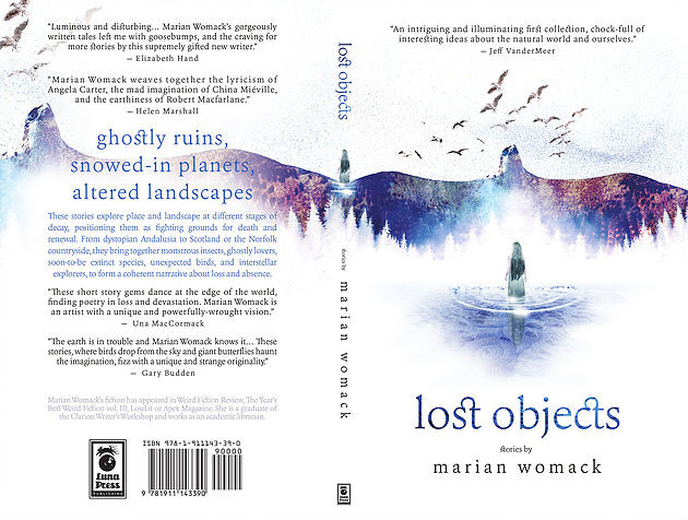 Portada y contraportada de la colección de relatos 'Lost Objects' de Marian Womack.