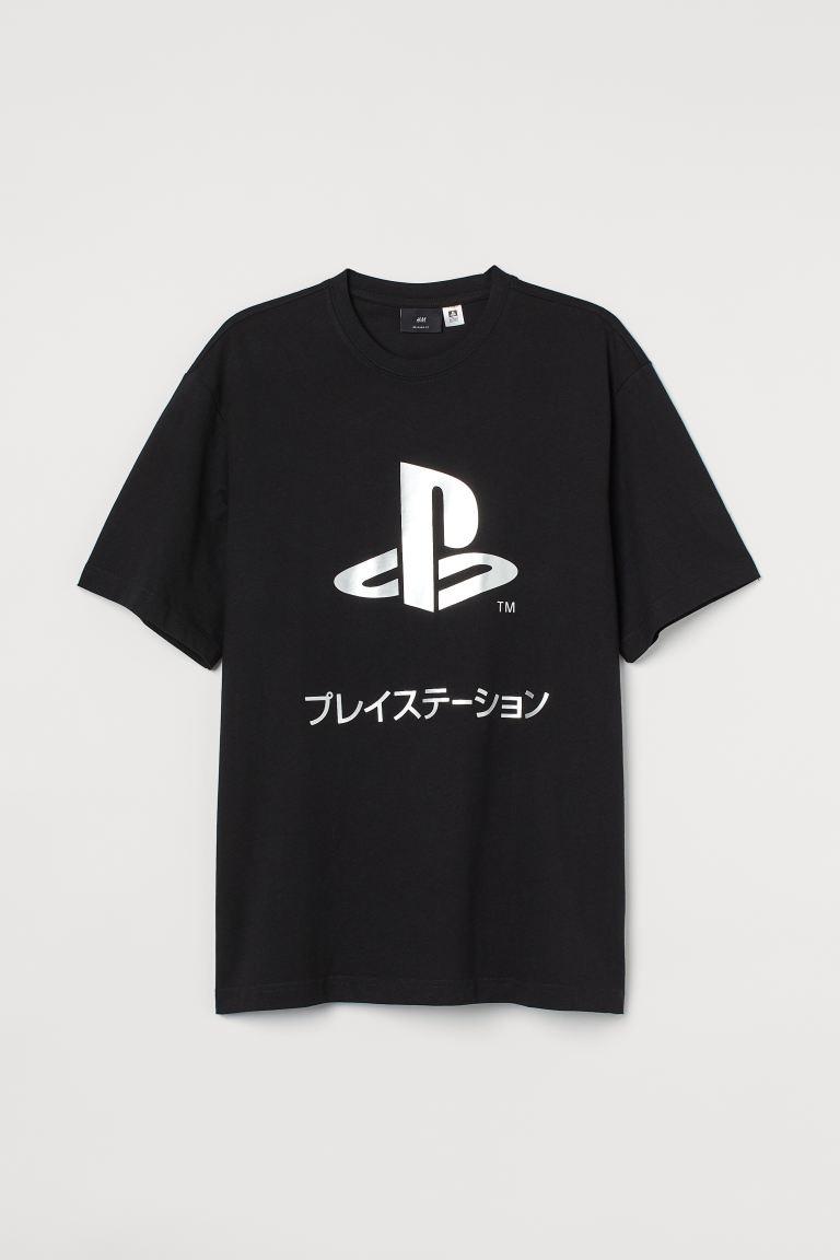 Camiseta negra en algodón con motivo para adulto