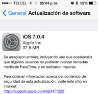 Apple lanza iOS 7.0.4 con distintas mejoras