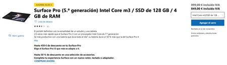 Surface Pro 5 A Generacion Intel Core M3 Ssd De 128 Gb 4 Gb De Ram