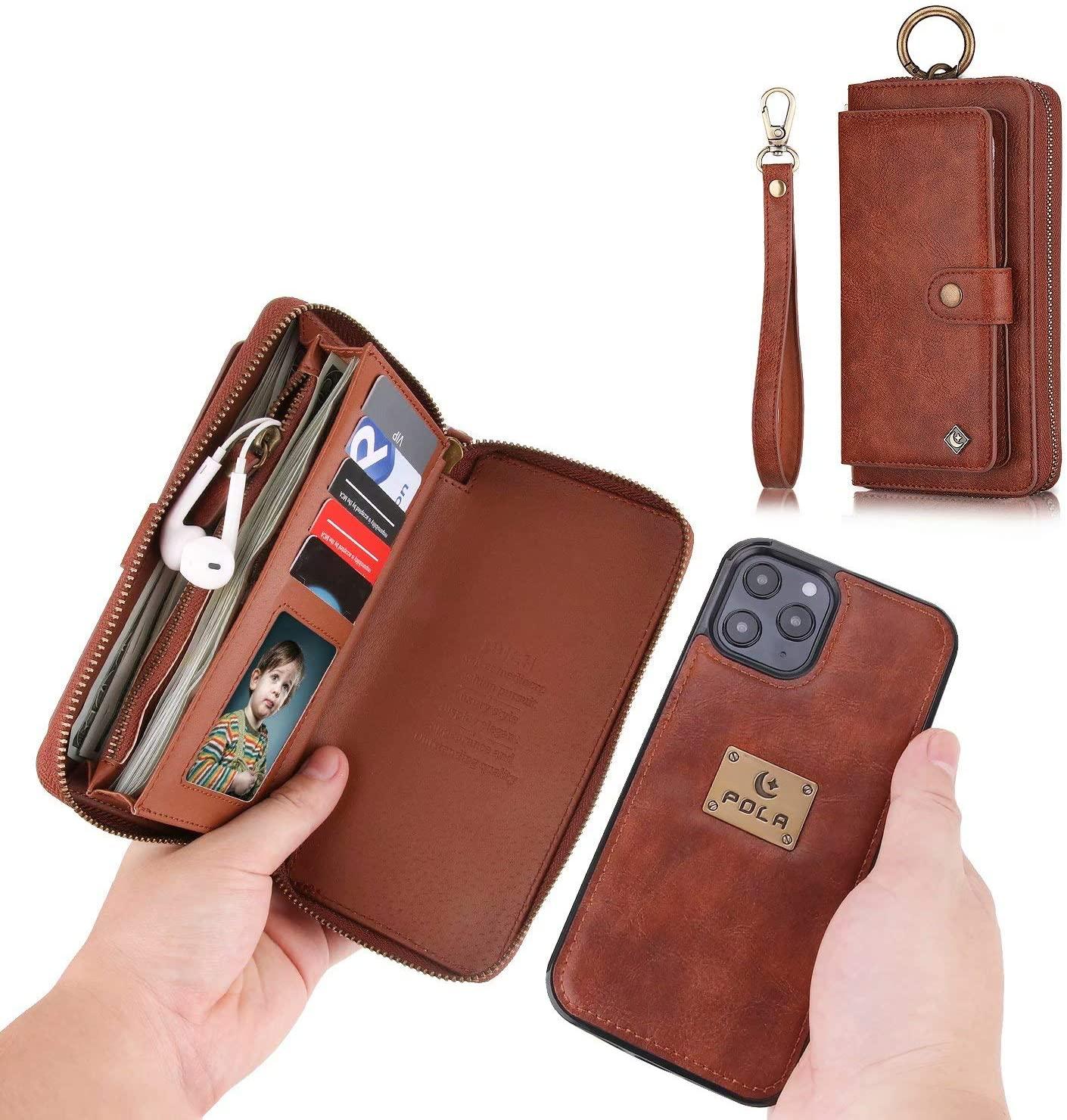 TianSui Funda de piel para iPhone 12 mini, con cremallera, tarjetero y cierre magnético extraíble, color marrón