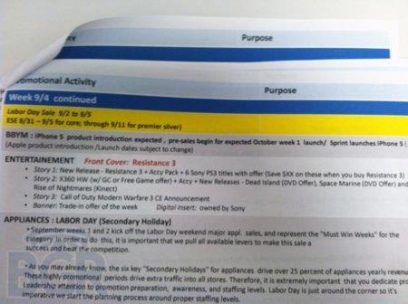 Un documento filtrado indica que el iPhone 5 llegaría a las tiendas la primera semana de octubre