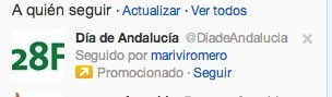 Cuenta promocionada en Twitter - Junta Andalucía