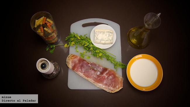 Pasta con salsa de gorgonzola y jamón - ingredientes