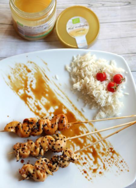 Receta de brochetas de pollo a la miel